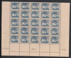 France - 1934 - N°Yv. 295 - Jacquard - Bloc De 25 Bord De Feuille - Neuf Luxe ** / MNH / Postfrisch - Ongebruikt