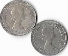 Australie  1 Shilling  Elisabeth II , Lot De 2 1956 (m) , 1957 (m) (m) Melbourne. ,argent 0.5 - Shilling