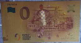 Billete 0 € Euro Souvenir Fantasía Dorado MUNDIAL FUTBOL RUSIA 2018: Croacia - Non Classificati