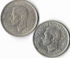 Australie  1 Shilling  Georges VI , Lot De 2 1948 (m) , 1950 (m) (m) Melbourne. ,argent 0.5 - Shilling