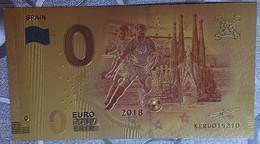 Billete 0 € Euro Souvenir Fantasía Dorado MUNDIAL FUTBOL RUSIA 2018: España - Non Classificati