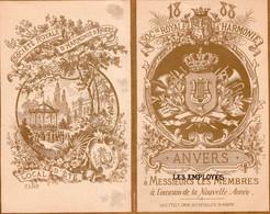 Calendrier Société D'Harmonie D'Anvers 1888 Litho T' Felt  18 X14 Cm - Porcelana