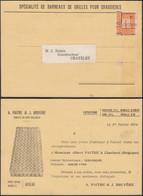 """Belgique 1914 -  Carte Postale Préo 108 Charleroi. Pub: """"Barreaux De Grilles P/chaudières Vers Châtelet.... (DD) DC-9804 - Tipo 1912-14 (Leoni)"""