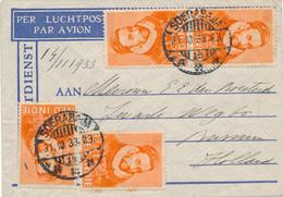Nederlands Indië - 1933 - 4x 12,5 Cent Willem I Op LP-briefje Van LBnr Soerabaja/15 Naar Bussum / Nederland - Indie Olandesi