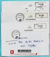 3 BLASTERS Waarvan 2 PP : Postpunten (2011-2012), 5530 YVOIR + SPONTIN + EVREHAILLES Op Aangetekende Zending - Vignettes D'affranchissement