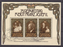 LIECHTENSTEIN  Block 11, Gestempelt,  1981, 75. Geburtstag Von Fürst Franz Josef II - Bloques & Hojas