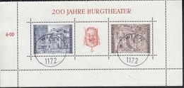 ÖSTERREICH Block 3, Gestempelt, 200 Jahre Burgtheater 1976 - Blokken & Velletjes