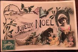 Cpa, éd JAK, Fantaisie, Joyeux Noël, Femmes, Fleurs, Cloches, Sabot, Paysage Enneigé, Fer à Cheval, écrite - Otros