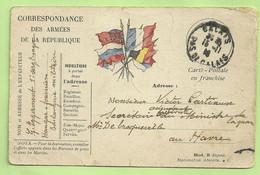 "Kaart ""Drapeau"" Stempel CALAIS Op 15/11/14 Van ""Boulangerie Militaire"" Naar ""Adjudant Ministere Au HAVRE (3456) - Belgische Armee"