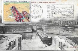 """1733 - A. DERAIN LES PENICHES Flamme Illustrée """"Bougival, Cité Des Impressionnistes"""" CPA Voyagée, écrite Et Très Rare RR - 1970-79"""