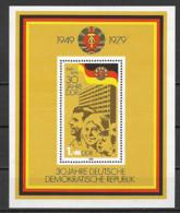 GERMANIA DEMOCRATICA DDR FOGLIETTI 1979 30°ANNIVERSARIO DELLA NAZIONE UNIF. BF 56 MNH XF - FDC: Hojas
