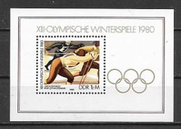 GERMANIA DEMOCRATICA DDR FOGLIETTI 1980 GIOCHI OLIMPICI INVERNALI UNIF. B 57 MNH XF - FDC: Hojas