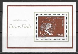 GERMANIA DEMOCRATICA DDR FOGLIETTI 1980 FRANS HALS PITTORE UNIF. BF 61 MNH XF - FDC: Hojas