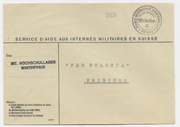 SUISSE HELVETIA CAMP MILITAIRE D'INTERNEMENT WINTHERTHUR LETTRE COVER ENTETE SERVICE D'IDE AUX INTERNES MILITAIRES - Postmarks