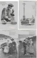 BRETAGNE - LES CHANSONS DE BOTREL - LOT DE 6 CARTES - ANIMEES - VERS 1900 - Bretagne