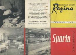Czech Republic - Czeske Budejovice - Two Brochures ( Regina And Sparta Restaurants ) - Tourism Brochures