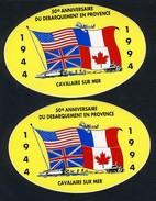 2 AUTOCOLLANTS  -  50 EME ANNIVERSAIRE  DU  DEBARQUEMENT  EN  PROVENCE(  CAVALAIRE) N2 - Obj. 'Remember Of'
