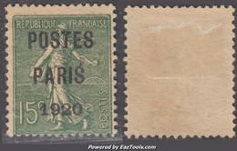 Préo POSTES PARIS 1920 Sur 15c Semeuse Usagé Papier GC (Dallay N° 26b , Cote 150€) - 1893-1947