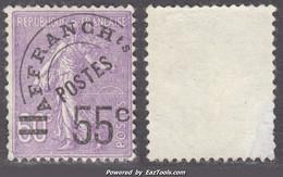 Préo 55c Sur 60c Semeuse Usagé (Y&T N° 47 , Cote 70€) - 1893-1947