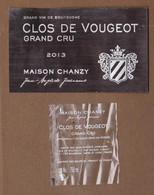 """Étiquette Et Contre étiquette """" CLOS DE VOUGEOT Grand Cru 2013 """" Jean-Baptiste Jessiaume Maison CHANZY (3213)_ev659 - Bourgogne"""
