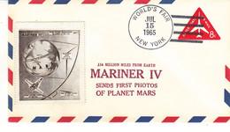 Espace - Mariner IV - Etats Unis - Lettre De 1965 - Entier Postal - Oblit World's Fair New York - Avec Vignette - - America Del Nord