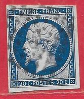 France N°14Aa Napoléon 20c Bleu Foncé 1854 O - 1853-1860 Napoléon III.