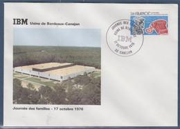 Journée Des Familles IBM Usine De Bordeaux Enveloppe 33 Canéjan 17.10.76 N°1905 Centenaire 1ère Liaison Téléphonique - Bolli Commemorativi