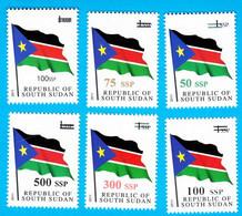 SOUTH SUDAN Surcharged Overprints On 1 SSP National Flag Stamp Of The 1st Set SOUDAN Du Sud Südsudan - Stamps