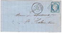 TIMBRES N° 60/ATYPE 1; GRANDE CASSURE ; LETTRE ; 145 A2  ; REMPLAÇANT   TRÈS RARE SUR LETTRE TB - 1871-1875 Ceres