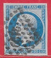 France N°14B Napoléon 20c Bleu 1860 O - 1853-1860 Napoléon III.
