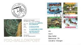 """53 - 6 - Enveloppe Suisse """"Vol Ballon"""" Avec Série Pro Juventute 2000 Et Oblit Spéciale - Montgolfier"""