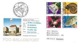 """53 - 8 - Enveloppe Suisse """"Vol Ballon"""" Avec Série Pro Juventute 1998 Et Oblit Spéciale - Montgolfier"""