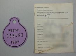 Fietsplaat Plaque West Vlaanderen 1987 + Aangifte Firmulier - Placas De Matriculación