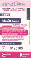 TICKET AUTOBUS ATAF&LI-NEA FIRENZE CORSA SEMPLICE - Europe