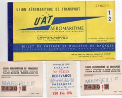 V12 65Sb   UAT Aéromaritime Billet D'avion Abéche Lamy Marseille Avec Talons Bagages 1961 - Other