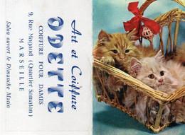 V12 65Sb   Calendrier Poche N°3 De 1963 Chats Chatons Art Et Coiffure Odette 9 Rue Magaud Quartier Samatan Marseille - Small : 1961-70