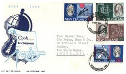 (CC 19) New Zealand FDC Cover -  Captain Cook Bi-centenary - 1969 - FDC