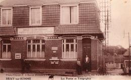 BRAY Sur SOMME  -  3 Cartes  - Les Postes Et Télégraphes - L' Hospice Vue Intérieure - La Petite Place  ......... - Bray Sur Somme