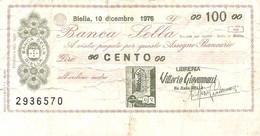 MINIASSEGNI - BANCA SELLA Libreria Vittorio Giovannacci Biella  £.100 - [10] Cheques Y Mini-cheques
