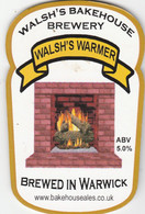 WALSH'S BAKEHOUSE BREWERY (WARWICK, ENGLAND) - WALSH'S WARMER - PUMP CLIP FRONT - Letreros