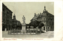 Villach/Kärnten - Villach,    Hans Gasserplatz Mit Sparkassengebäude - Villach