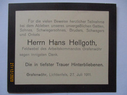 Lager Grafenwöhr, Traurkärtchen Feldwebel Des Arbeitskommando 1911 (56475) - Guerra 1914-18