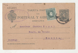 Spain Postal Stationery Tarjeta Postal Para Portugal Y Gibraltar Posted 1905 To Bastia Corse B201230 - 1850-1931