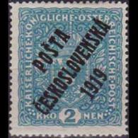 CZECHOSLOVAKIA 1919 - Scott# B18 Arms Opt. 2k LH - Nuevos