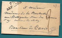 SEINE ET OISE - ARPAJON . LAC Ecrite Par La Comtesse Anatole De Montesquieu Pour Madame De La ROCHELLE.1826 - 1801-1848: Precursors XIX