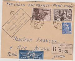 FRANCE 1952 Env PA Tokyo Japon Inauguration Liaison Aér 24.11 1952 Aff. N°YT 917 PA 24 886 Cachet Versailles 21.11 1952 - Air Post