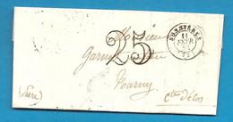 SEINE ET OISE - BONNIERES Pour TOURNY. CàD Type 15 + Taxe Tampon 25 - 1801-1848: Précurseurs XIX