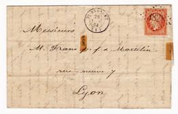 Lettre 1864 Saint Rambert En Bugey Ain Lyon Frane Et Martelin Timbre Napoléon III 40 Centimes - 1862 Napoléon III.