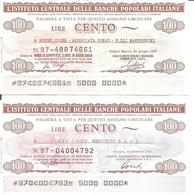 MINIASSEGNI - ISTITUTO CENTRALE BANCHE POP. IT. Super Jules Conad Manfredini Reggio E. - Conad Mercurio Bologna £.100x2 - [10] Cheques Y Mini-cheques