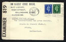 GRANDE BRETAGNE 1941: LSC De Gillingham Pour La Croix-Rouge à Genève, Passée Par La Censure Britannique - Covers & Documents